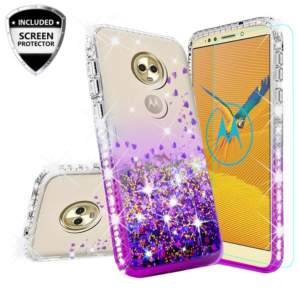 clear liquid phone case for motorola moto e5 plus - purple - www.coverlabusa.com
