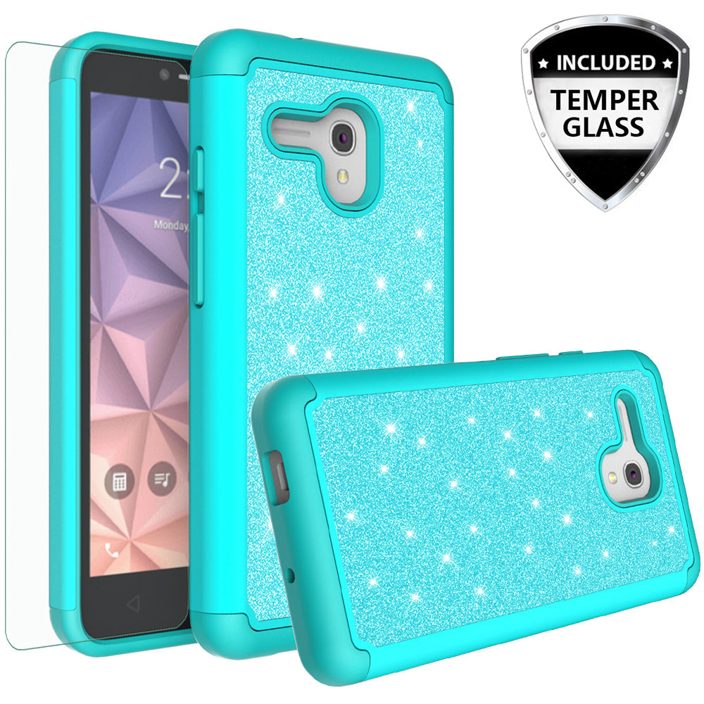 online retailer 3ad6c a8a84 Alcatel Pixi Glory Case, Alcatel Onetouch Flint, Alcatel Fierce XL,  Jitterbug Smart Case, Glitter Bling Heavy Duty Shock Proof Hybrid Case with  [HD ...