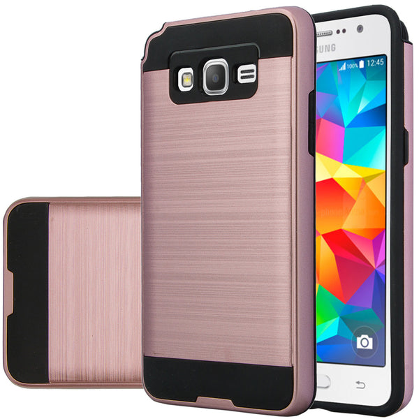 galaxy go,samsung grand prime hybrid case - brush rose gold - www.coverlabusa.com