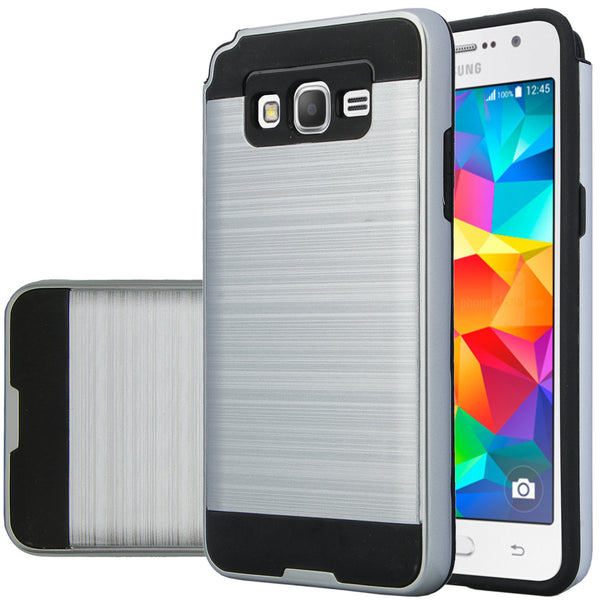 galaxy go,samsung grand prime hybrid case - brush silver - www.coverlabusa.com
