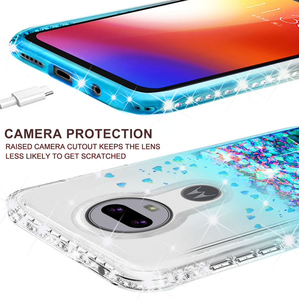 clear liquid phone case for motorola moto g7 - teal - www.coverlabusa.com