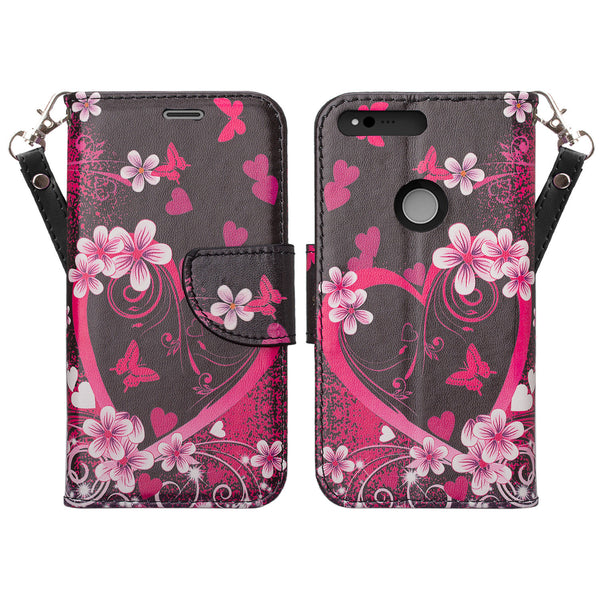 google pxiel cover,pixel wallet case - flower hearts - www.coverlabusa.com