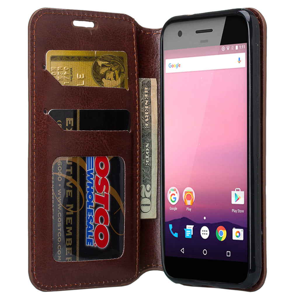the latest 3867e fe933 Google Pixel Case, Pu Leather Magnetic Fold[Kickstand] Wallet Case with ID  & Card Slots for Google Pixel - Brown