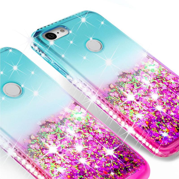 glitter phone case for google pixel 3a - teal/pink gradient - www.coverlabusa.com
