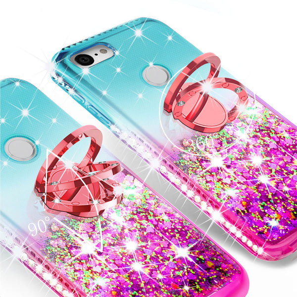 glitter phone case for google pixel 3a xl - teal/pink gradient - www.coverlabusa.com