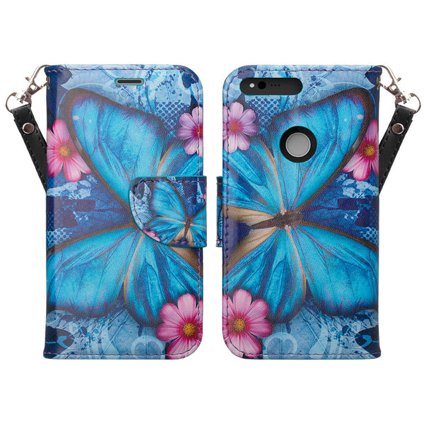 google pxiel cover,pixel wallet case - blue butterfly - www.coverlabusa.com