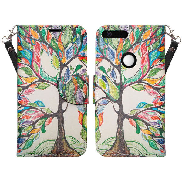 google pixel xl cover, pixel xl wallet case - colorful tree - www.coverlabusa.com
