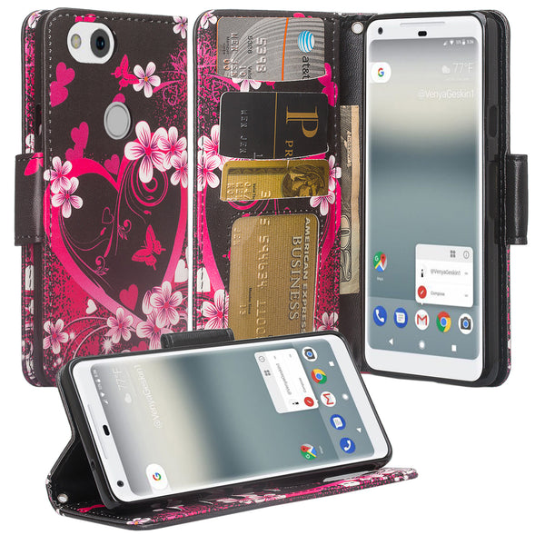 Google Pixel 2 Wallet Case - heart butterflies - www.coverlabusa.com