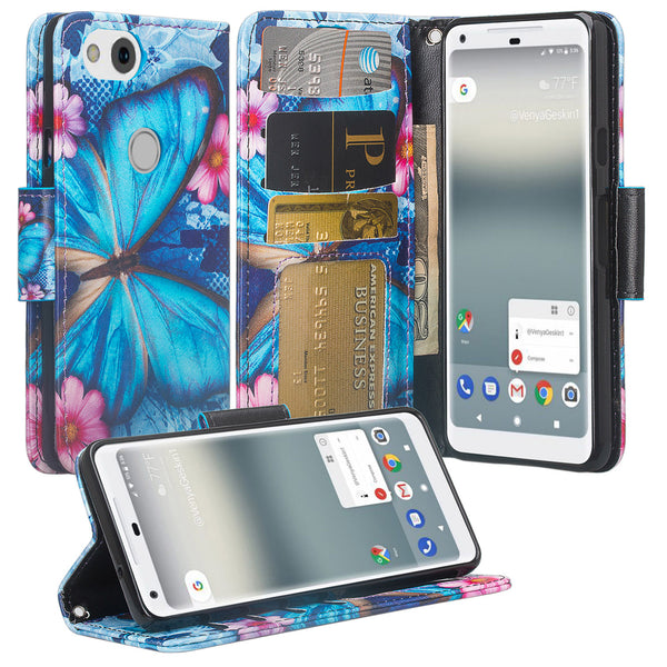Google Pixel 2 Wallet Case - blue butterfly - www.coverlabusa.com