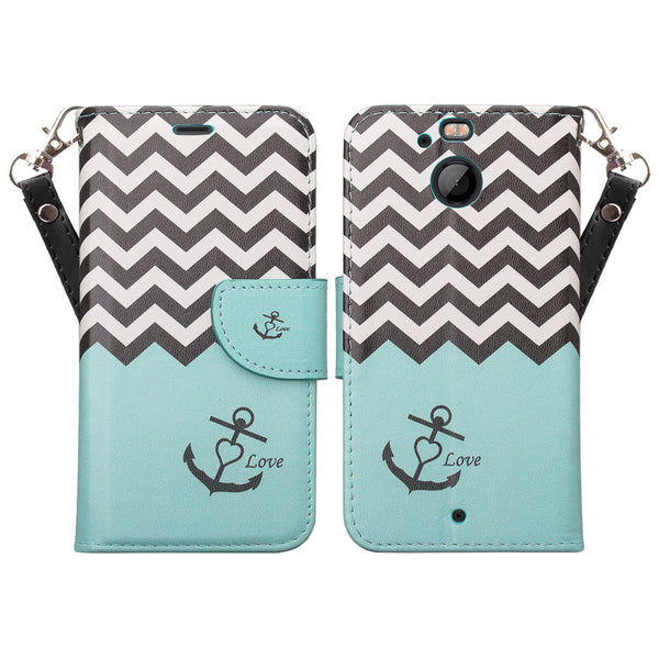 HTC Bolt Wallet Case - teal anchor - www.coverlabusa.com