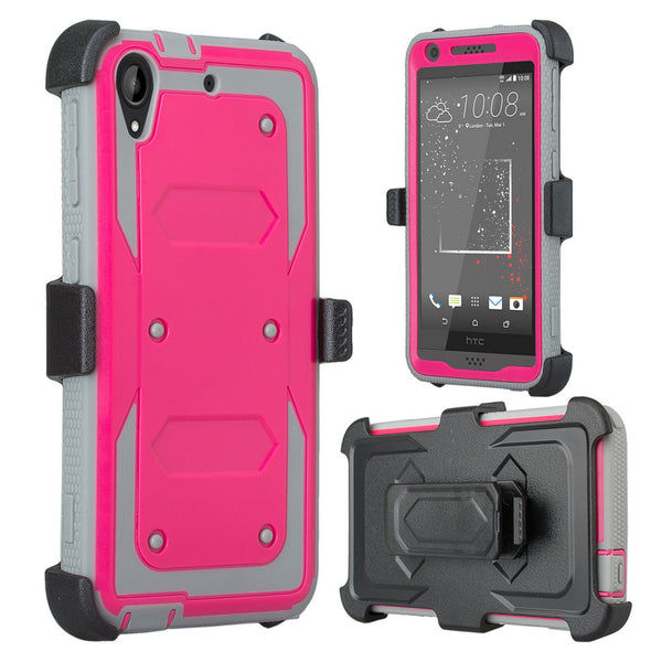HTC Desire 530 Case | Heavy Duty 3-in-1 Defender Holster Shell Combo | Hot Pink - www.coverlabusa.com