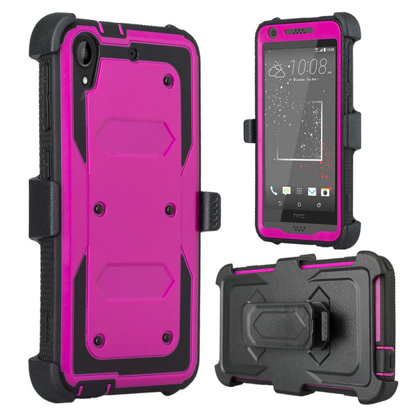 HTC Desire 530 Case | Heavy Duty 3-in-1 Defender Holster Shell Combo | Purple - www.coverlabusa.com