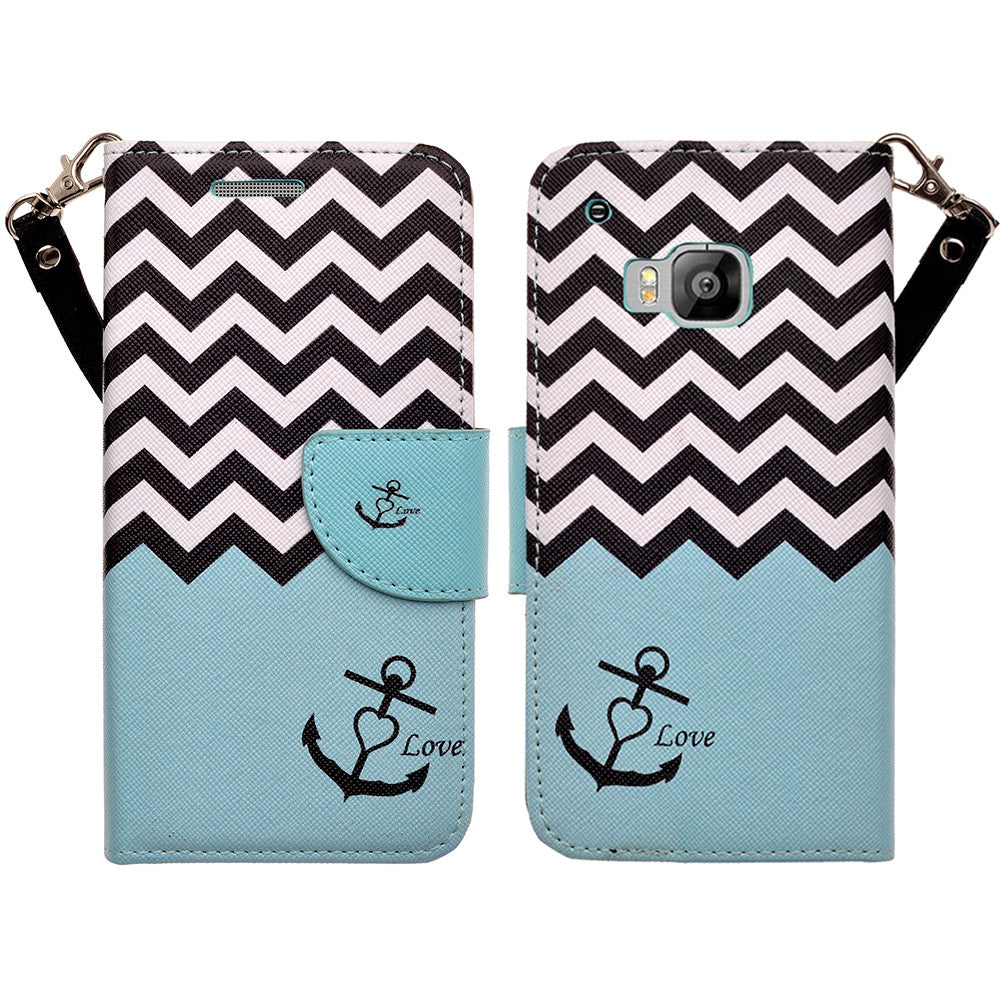 HTC One M9 wallet case - Teal Anchor - www.coverlabusa.com