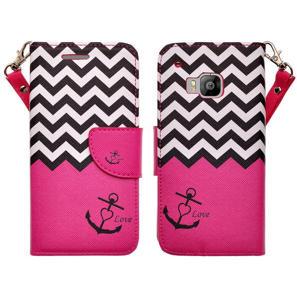 HTC One M9 wallet case - Hot Pink Anchor - www.coverlabusa.com