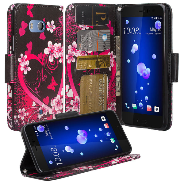 HTC U11 Wallet Case - heart butterflies - www.coverlabusa.com