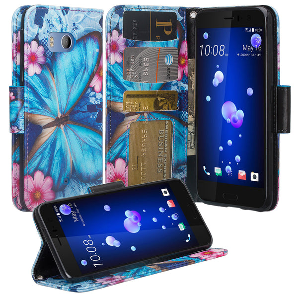 HTC U11 Wallet Case - blue butterfly - www.coverlabusa.com