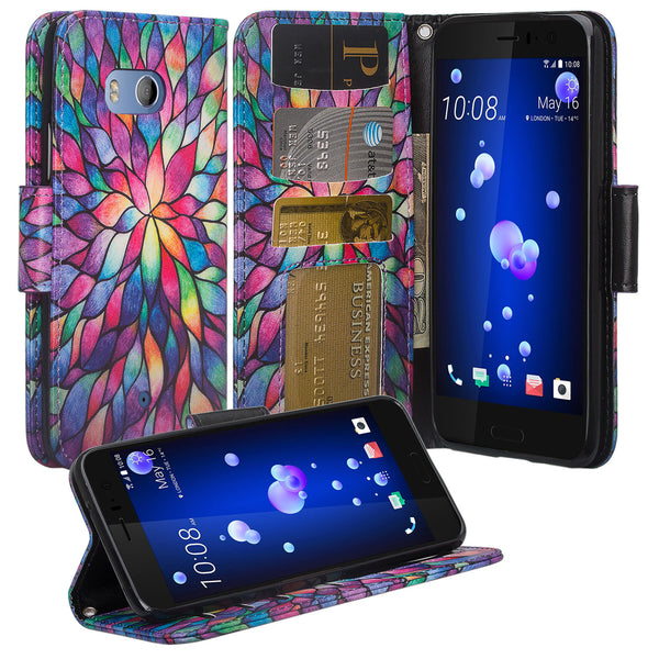 HTC U11 Wallet Case - rainbow flower - www.coverlabusa.com
