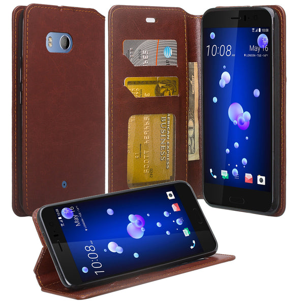 HTC U11 Wallet Case - brown - www.coverlabusa.com