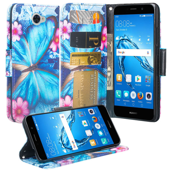 Huawei Ascend XT 2 Wallet Case - Blue Butterfly - www.coverlabusa.com