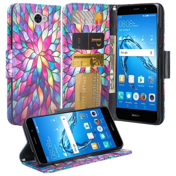 Huawei Ascend XT 2 Wallet Case - Rainbow Flower - www.coverlabusa.com