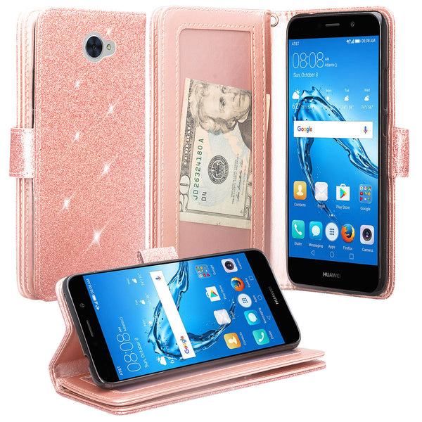 Huawei Ascend XT 2 Glitter Wallet Case - Rose Gold - www.coverlabusa.com