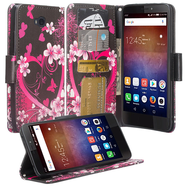 huawei ascend xt leather wallet case - heart butterflies - www.coverlabusa.com
