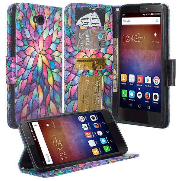 huawei ascend xt leather wallet case - rainbow flower - www.coverlabusa.com