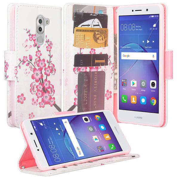 huawei honor 6x, gr5 2017, mate 9 lite wallet case - cherry blossom - www.coverlabusa.com
