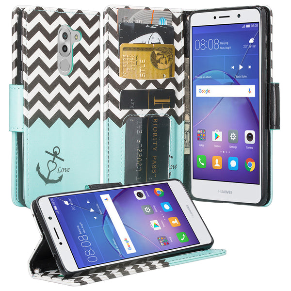 huawei honor 6x, gr5 2017, mate 9 lite wallet case - teal anchor - www.coverlabusa.com