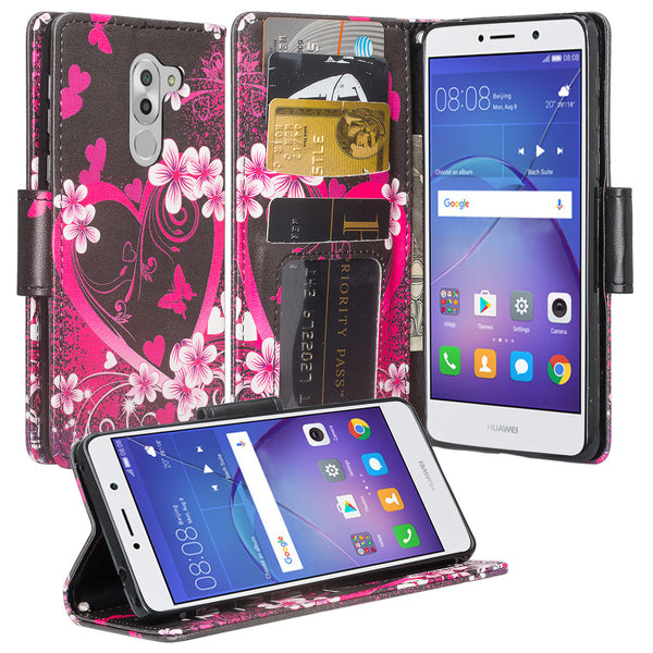 huawei honor 6x, gr5 2017, mate 9 lite wallet case - heart butterflies - www.coverlabusa.com