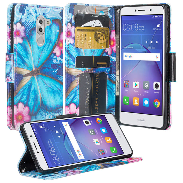 huawei honor 6x, gr5 2017, mate 9 lite wallet case - blue butterfly - www.coverlabusa.com