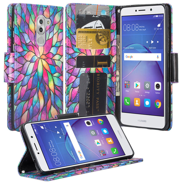 huawei honor 6x, gr5 2017, mate 9 lite wallet case - rainbow flower - www.coverlabusa.com