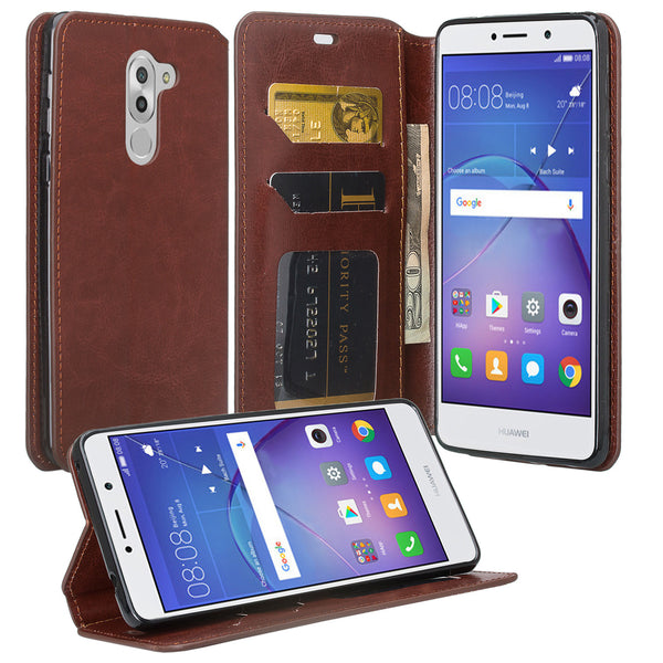 huawei honor 6x, gr5 2017, mate 9 lite leather wallet case - brown - www.coverlabusa.com