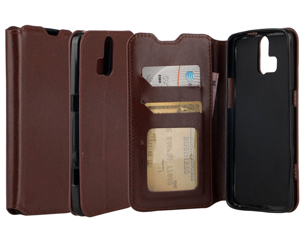 ZTE Axon Pro Wallet Case - brown - www.coverlabusa.com