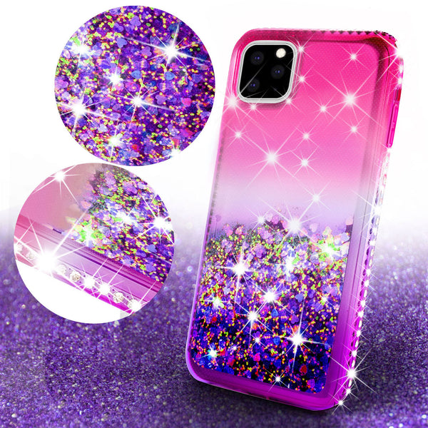 glitter phone case for apple iphone 11 pro max - hot pink/purple gradient - www.coverlabusa.com