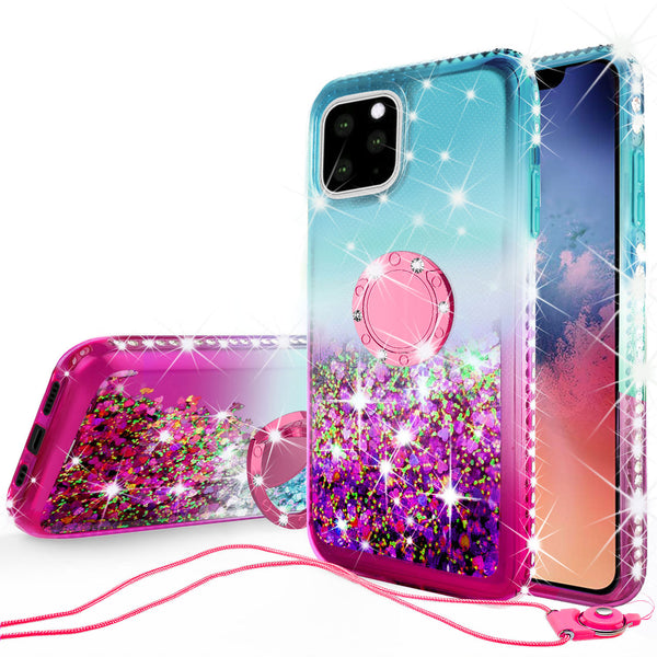 glitter phone case for apple iphone 11 pro max - teal/pink gradient - www.coverlabusa.com