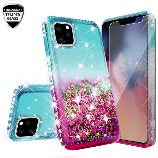 glitter phone case for apple iphone 11 pro - pink/teal gradient - www.coverlabusa.com