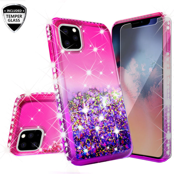 glitter phone case for apple iphone 11 pro - hot pink/purple gradient - www.coverlabusa.com