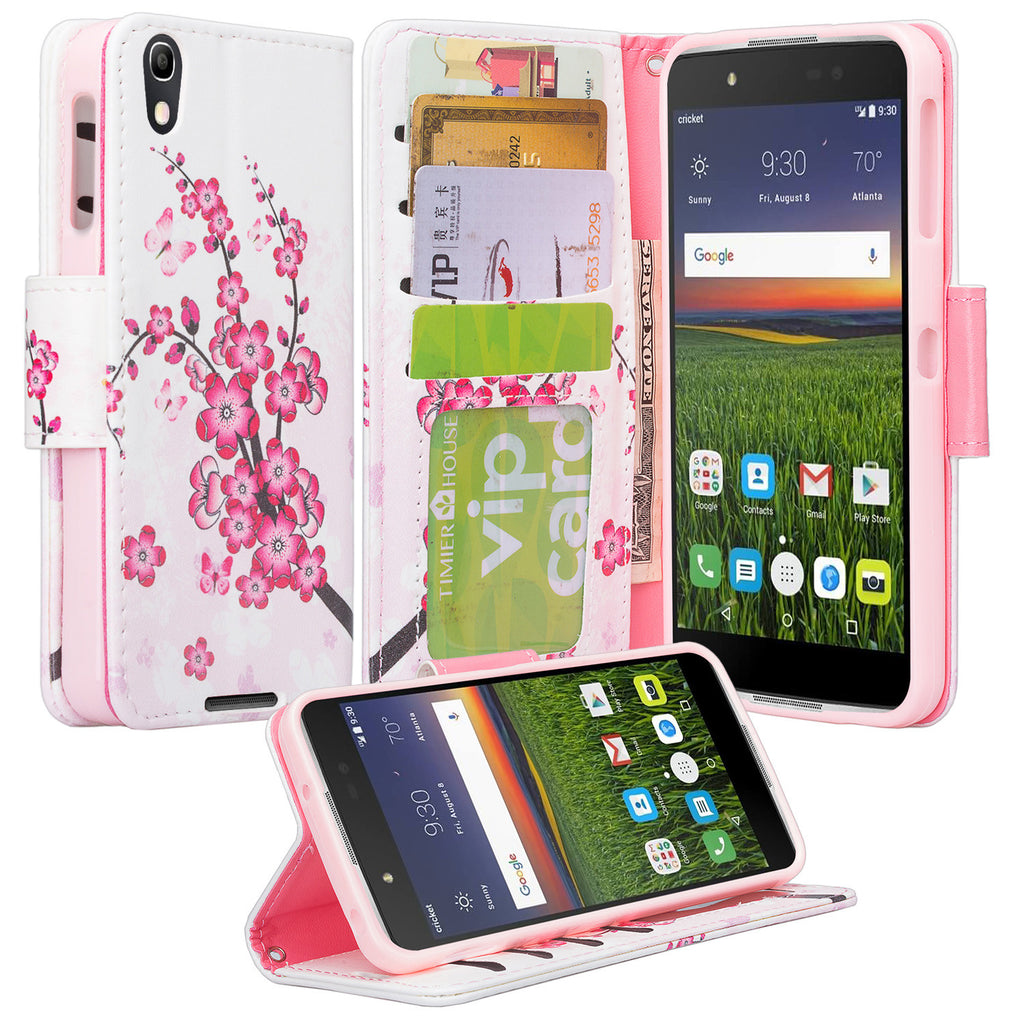 Alcatel idol 4 cover,idol4 wallet case - cherry blossom - www.coverlabusa.com