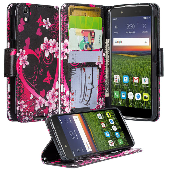 Alcatel idol 4 cover,idol4 wallet case - flower hearts - www.coverlabusa.com