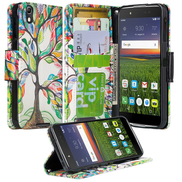 Alcatel idol 4 cover,idol4 wallet case - colorful tree - www.coverlabusa.com