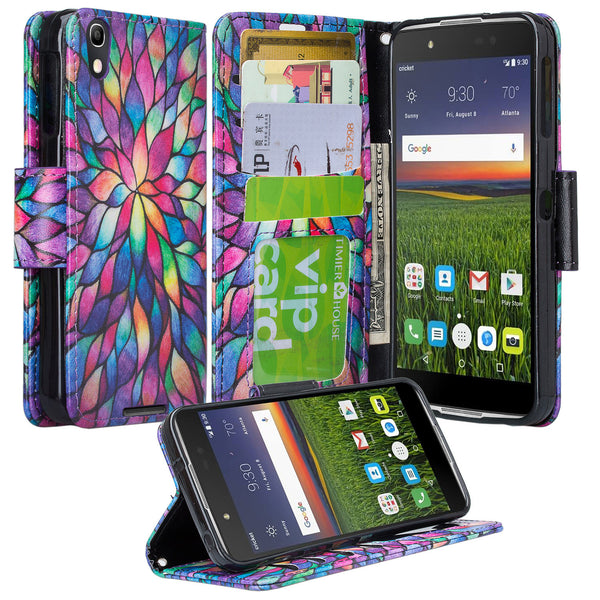 Alcatel idol 4 cover,idol4 wallet case - rainbow flower - www.coverlabusa.com