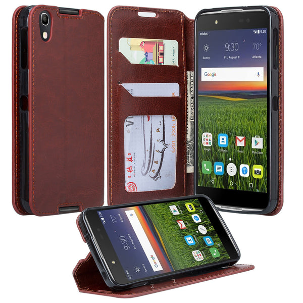 Alcatel idol 4 cover,idol4 wallet case - brown - www.coverlabusa.com