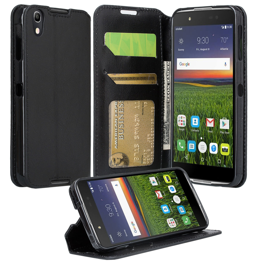 Alcatel Idol 4 Case, Idol 4 Wallet Case, Slim Flip Cover [Kickstand] Pu  Leather Wallet Case with ID & Card Slots - Black