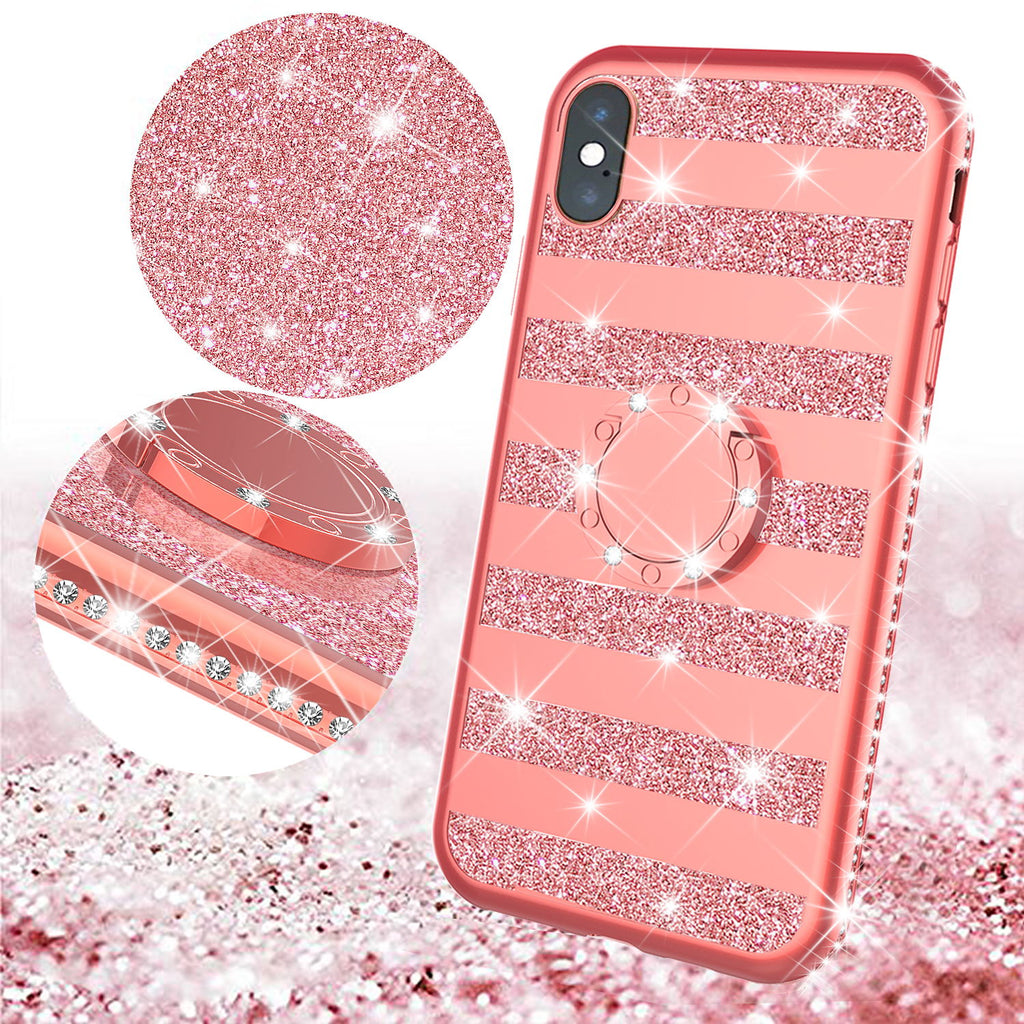 Glitter Cute Phone Case Girls Kickstand Compatible For Apple Iphone X Iphone Xs Case Bling Diamond Bumper Ring Stand Soft Sparkly Iphone X Iphone