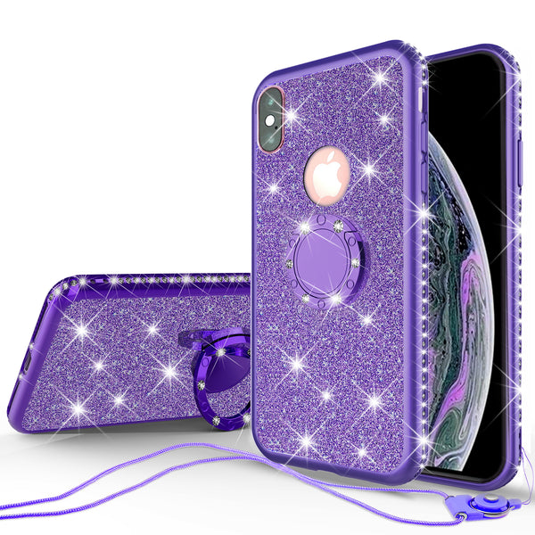 apple iphone xr glitter bling fashion 3 in 1 case - purple - www.coverlabusa.com