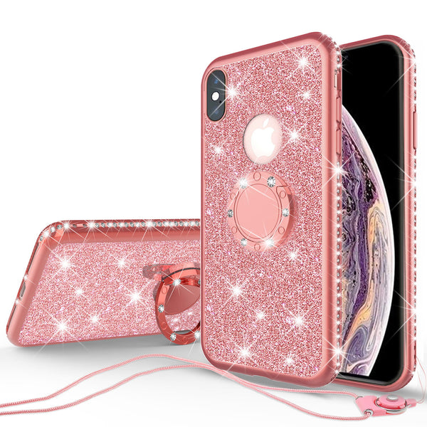 apple iphone xs max glitter bling fashion 3 in 1 case - rose gold - www.coverlabusa.com
