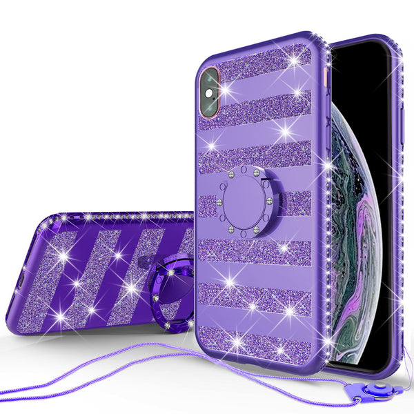 apple iphone xr glitter bling fashion 3 in 1 case - purple stripe - www.coverlabusa.com