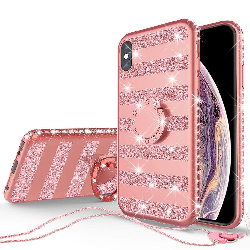 apple iphone xs max glitter bling fashion 3 in 1 case - rose gold stripe - www.coverlabusa.com