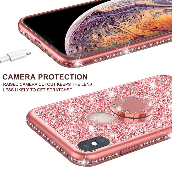 apple iphone xr glitter bling fashion 3 in 1 case - rose gold - www.coverlabusa.com